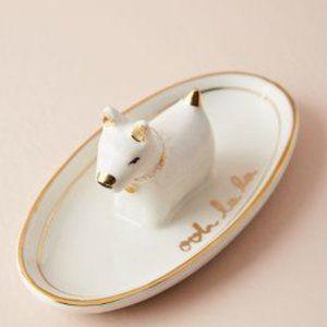 Anthropologie Storage & Organization - Anthropologie Handpainted White Dog Trinket Dish